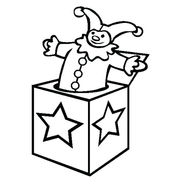 600x612 Box Coloring Page Jack In The Box Star Decorated Jack In The Box