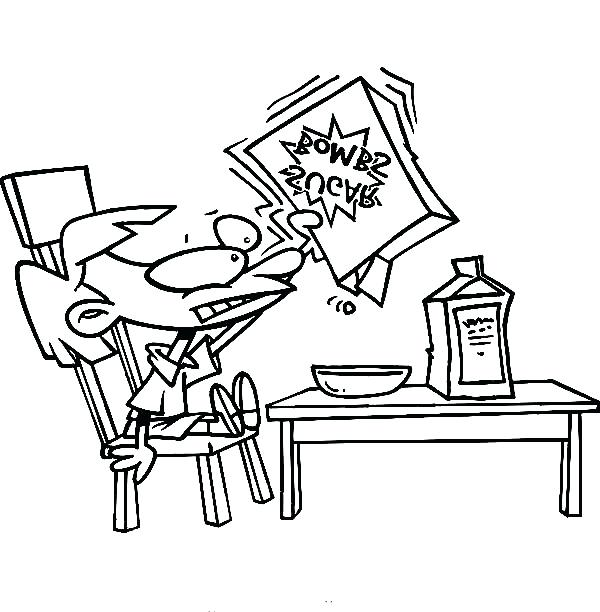 600x612 Kid Eating Cereal For Breakfast Coloring Page Coloring Sun Free