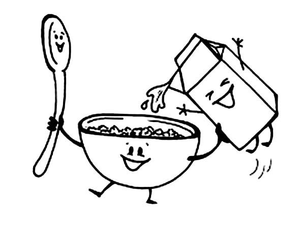 600x464 Awesome Breakfast Coloring Pages With Cereal And Milk Page