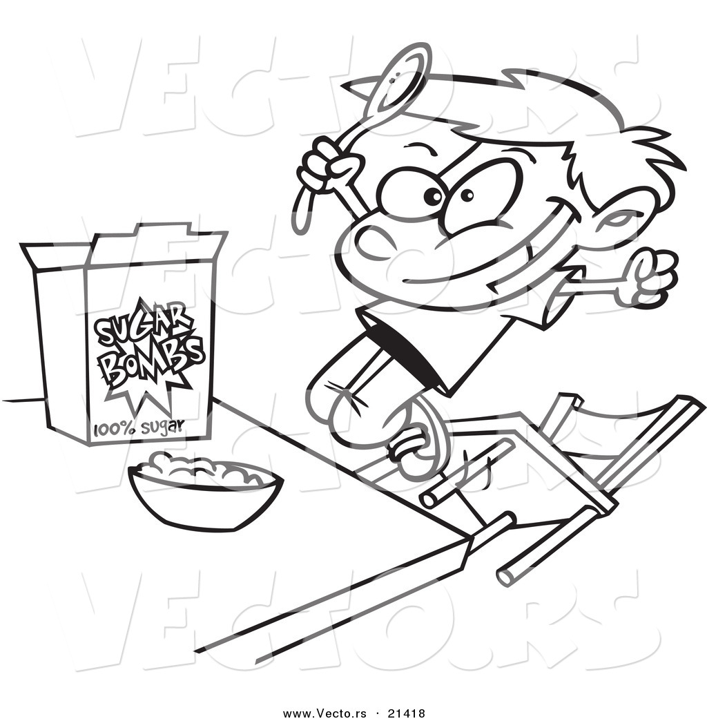 1024x1044 Vector Of A Cartoon Boy Eating Sugary Cereal
