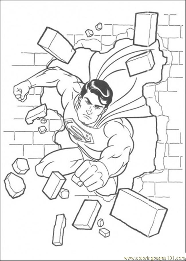 650x912 Superman Has Damaged The Wall Coloring Page