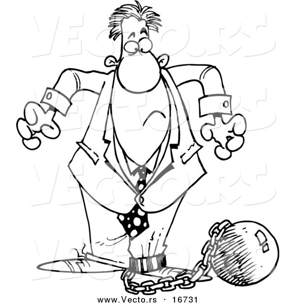 600x620 Vector Of A Cartoon Businessman Shackled To A Ball And Chain