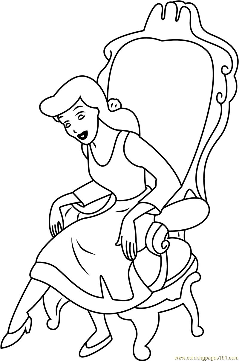 800x1207 Cinderella Sitting On Chair Coloring Page