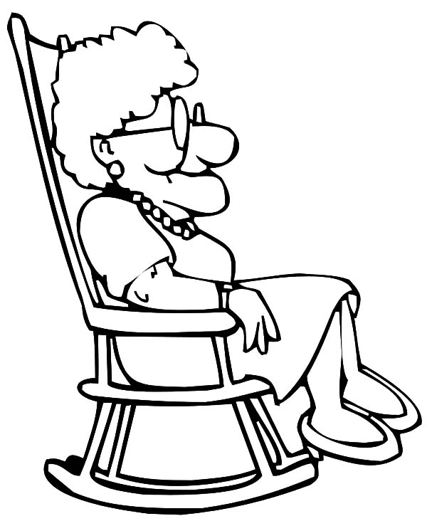600x732 Grandmother Sitting On Rocking Chair Coloring Pages Color Luna