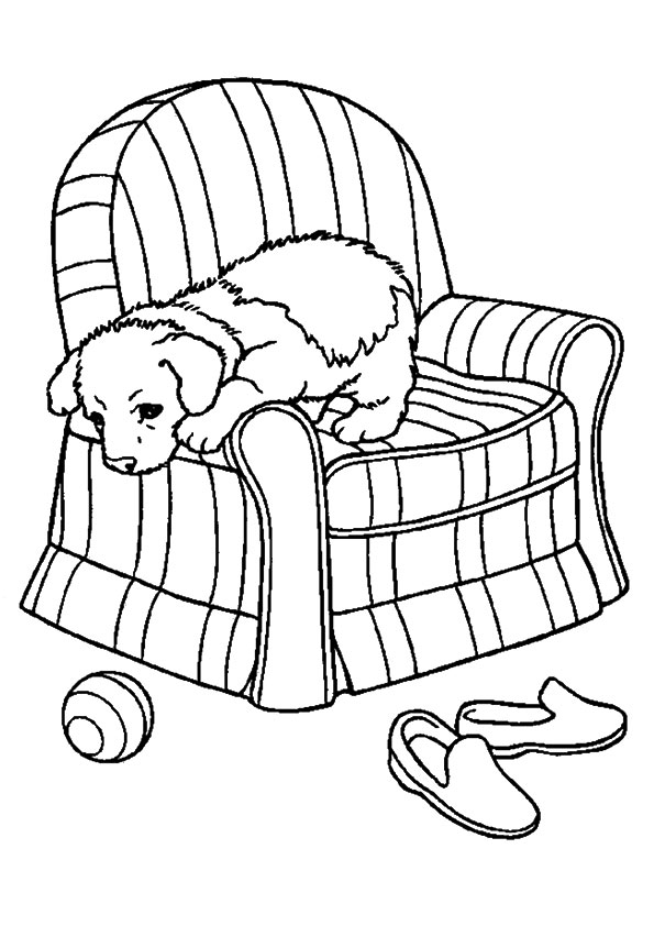 595x842 Pup On Slipcover Sofa Chair Coloring Page