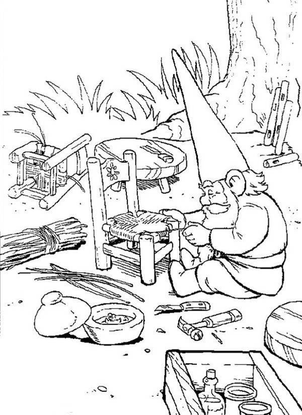 600x823 David The Gnome, David The Gnome Weaving A Rattan Chair Coloring