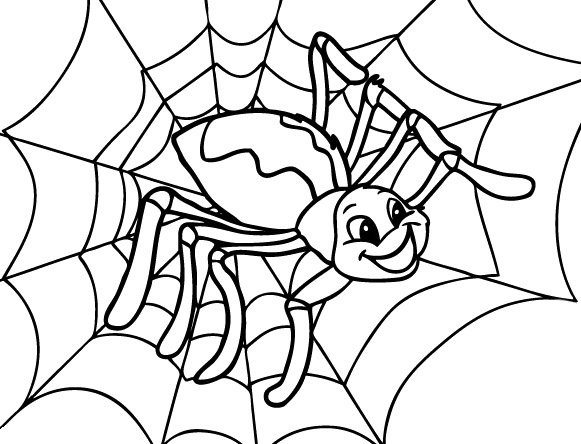 581x444 Happy Spider Coloring Page Cute Spider Spider