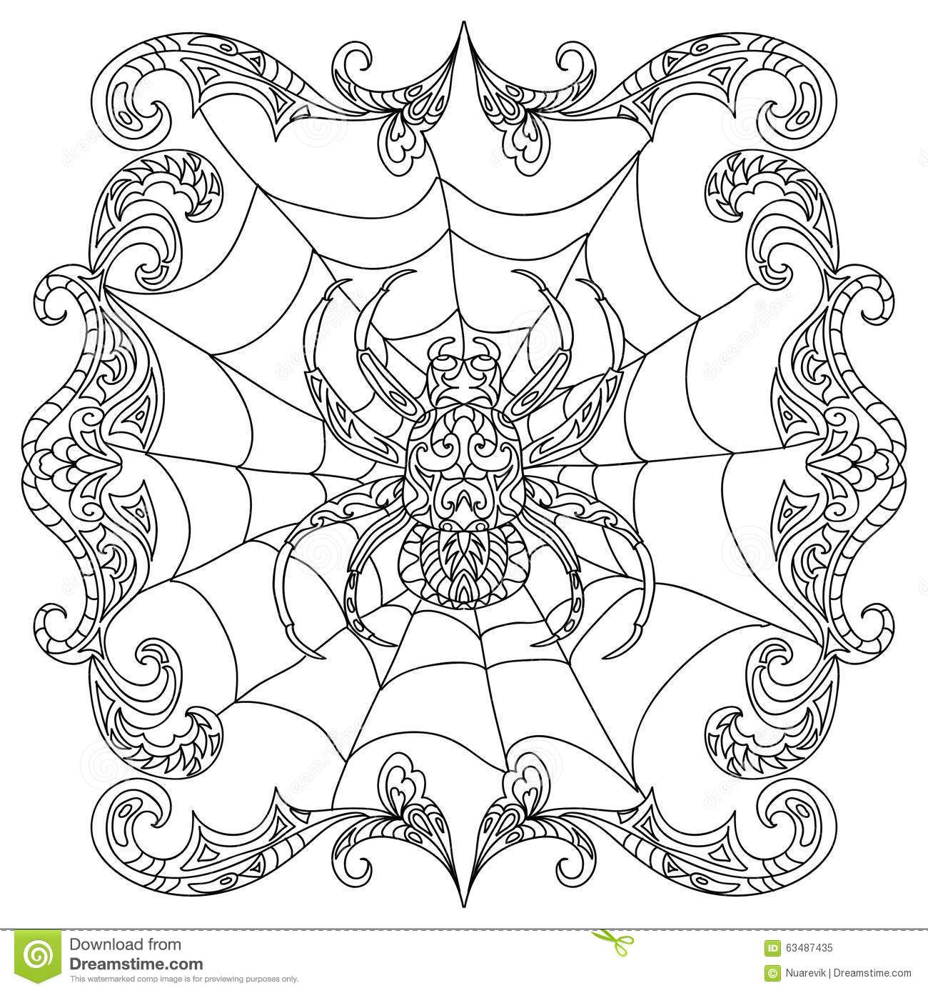 1300x1390 Spider Zentangle Coloring Page Cute Halloween Party
