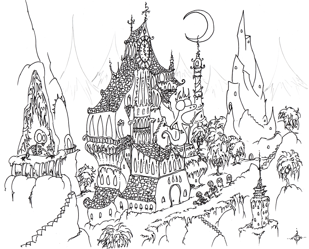 1000x806 Coloring Page Skeletons Trick Or Treating In A Haunted City