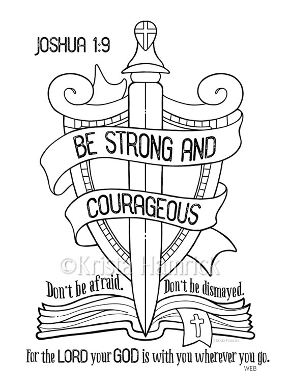 570x760 Be Strong And Courageous Coloring Page Bible