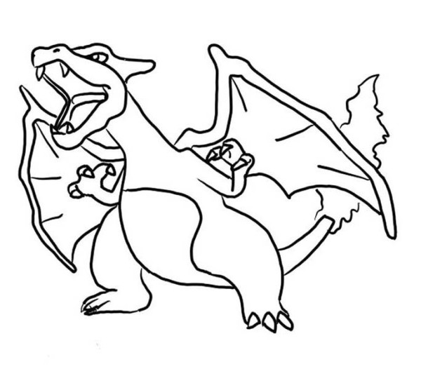 600x526 Furious Charizard Coloring Page