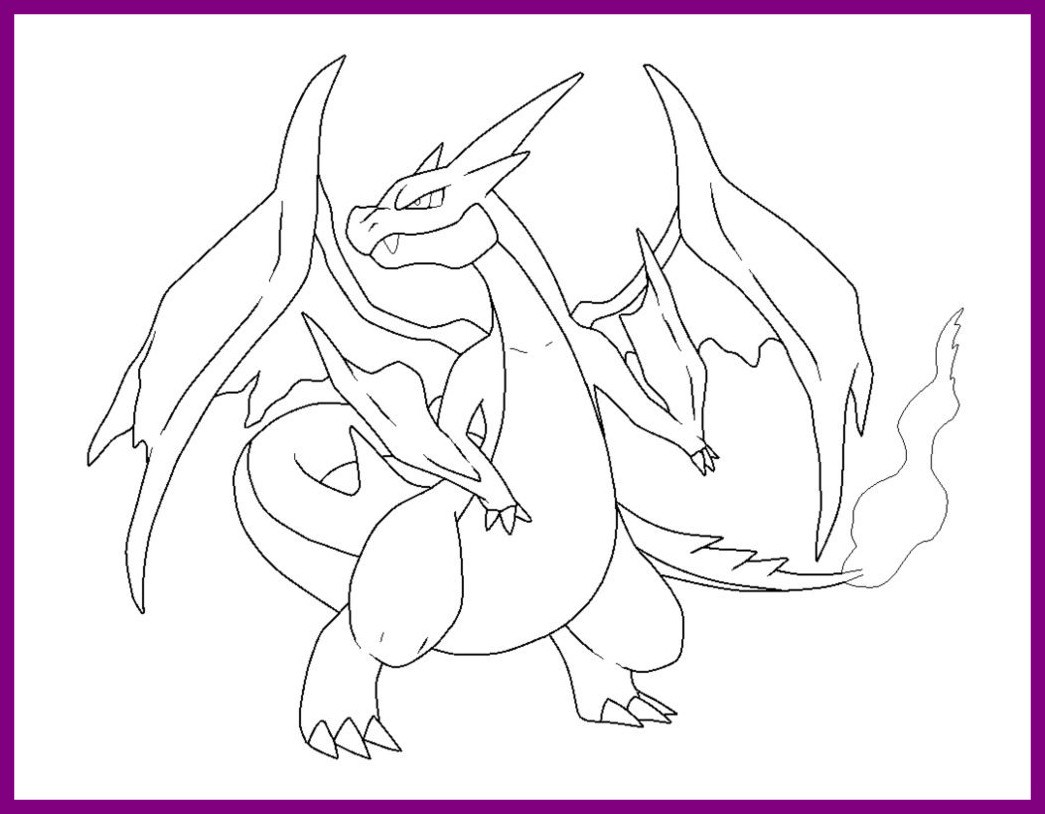 1045x814 Astonishing Pokemon Coloring Pages Mega Charizard Ex For Menmadeho