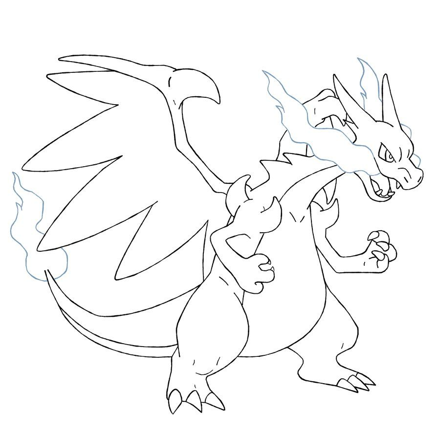 894x894 Mega Charizard X Coloring Pages Pokemon Party