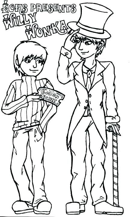 432x720 Willy Wonka Coloring Pages