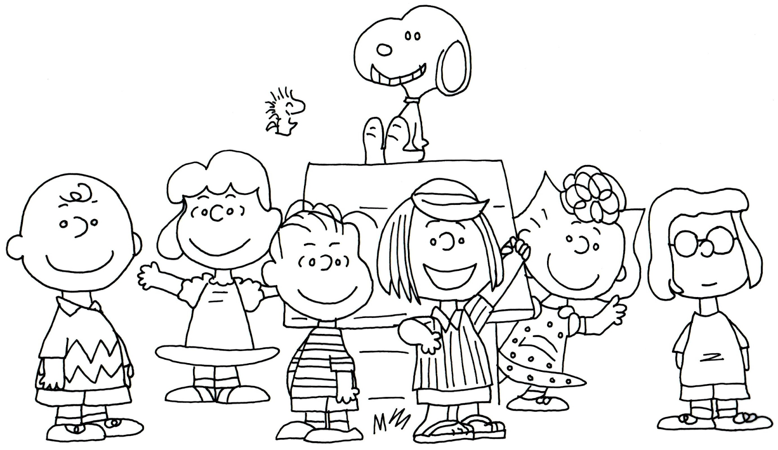 1600x927 Free Charlie Brown Snoopy And Peanuts Coloring Pages Free Whole