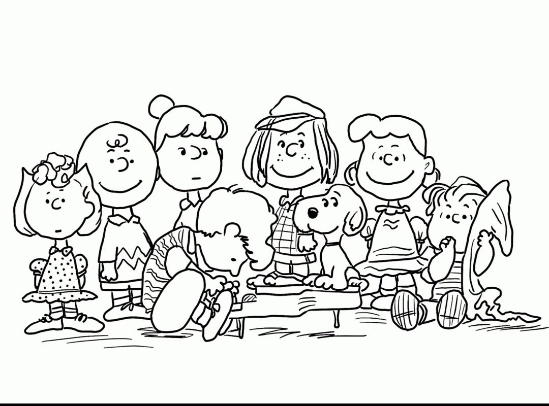 1080x800 Charlie Brownristmas Coloring Page Thanksgiving Pages To Print