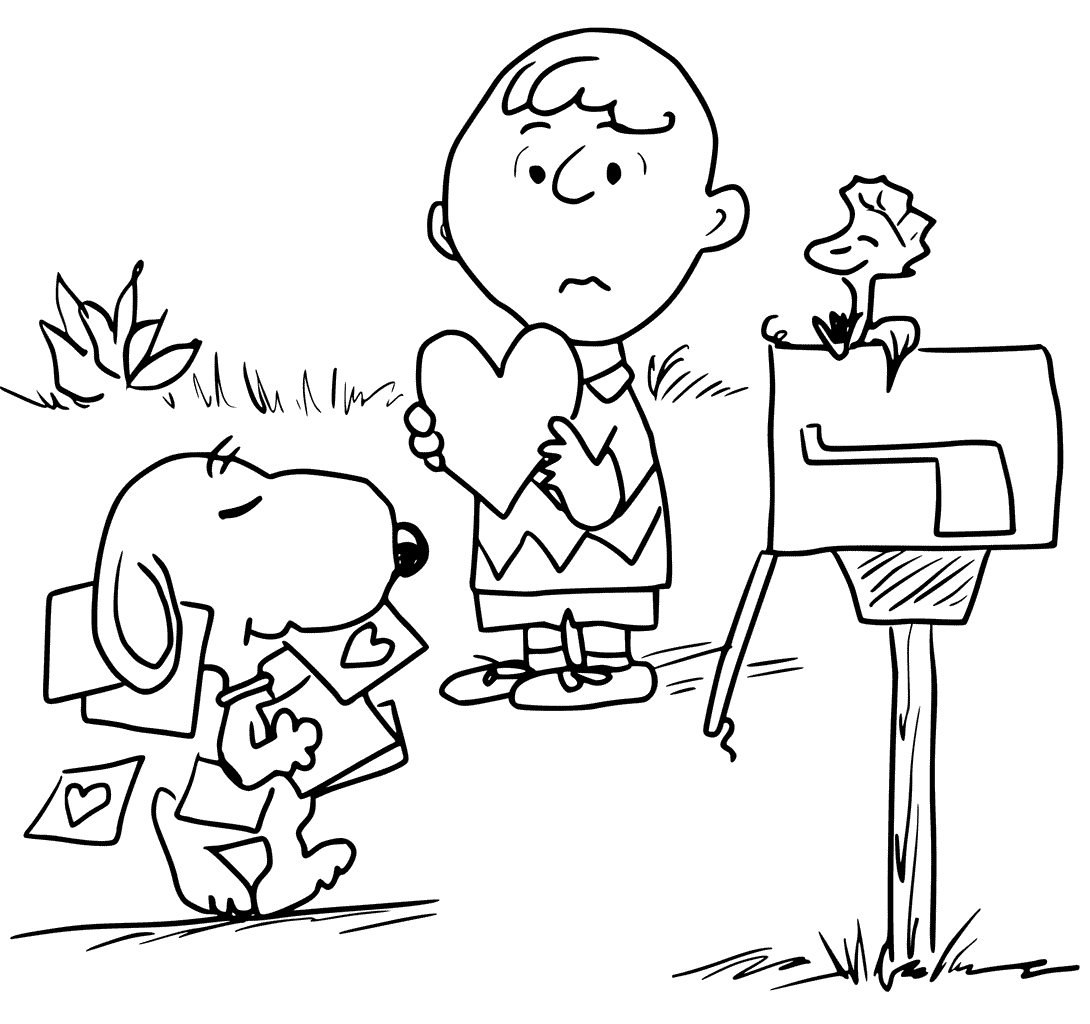 1090x1024 Charlie Brown Valentine Coloring Pages Download Coloring