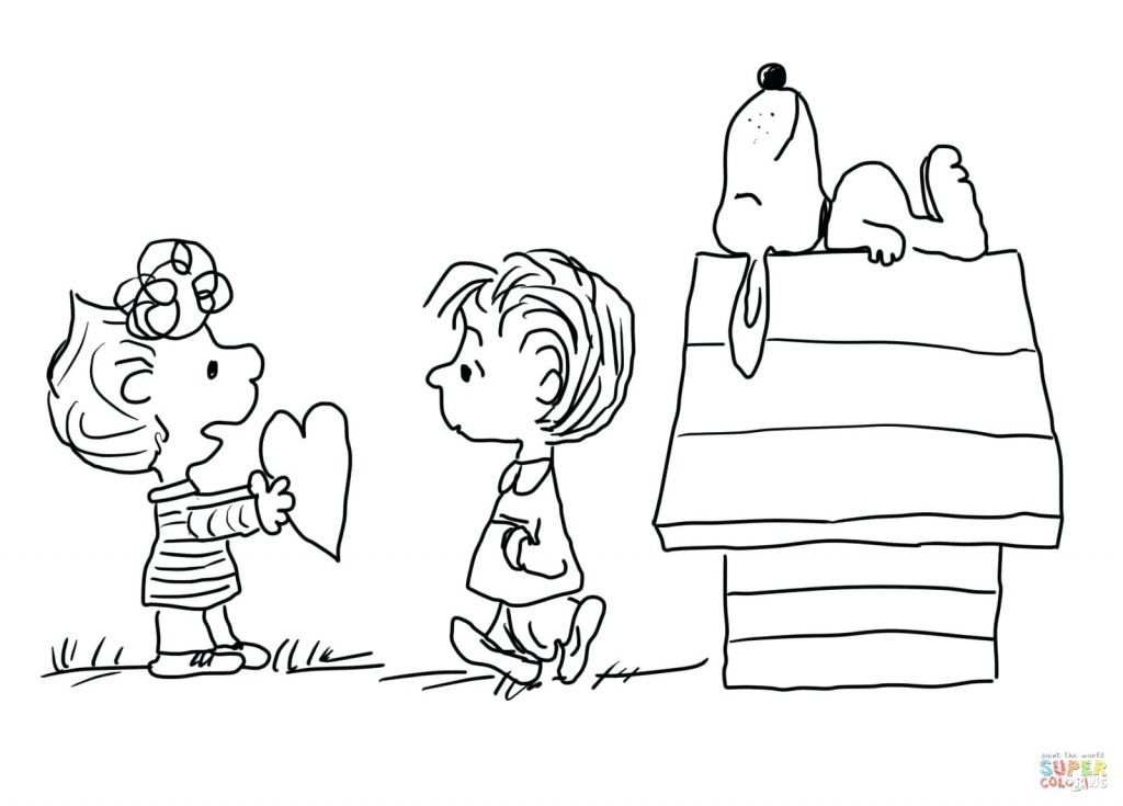 1024x735 Coloring Page Valentines Color Pages Click The Charlie Brown Day