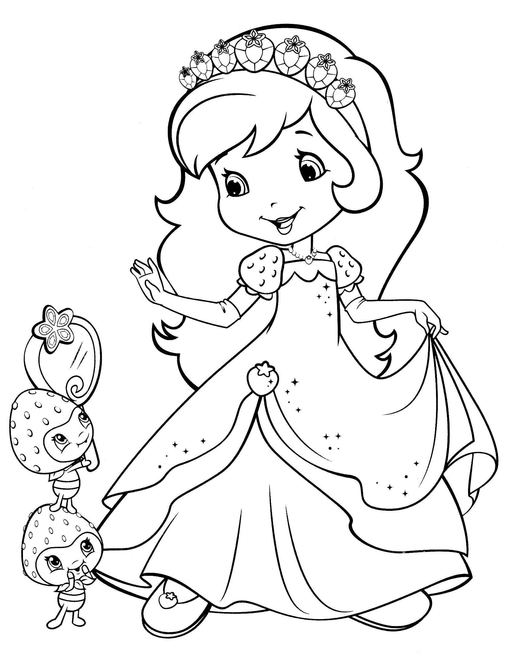1700x2200 Strawberry Coloring Pages