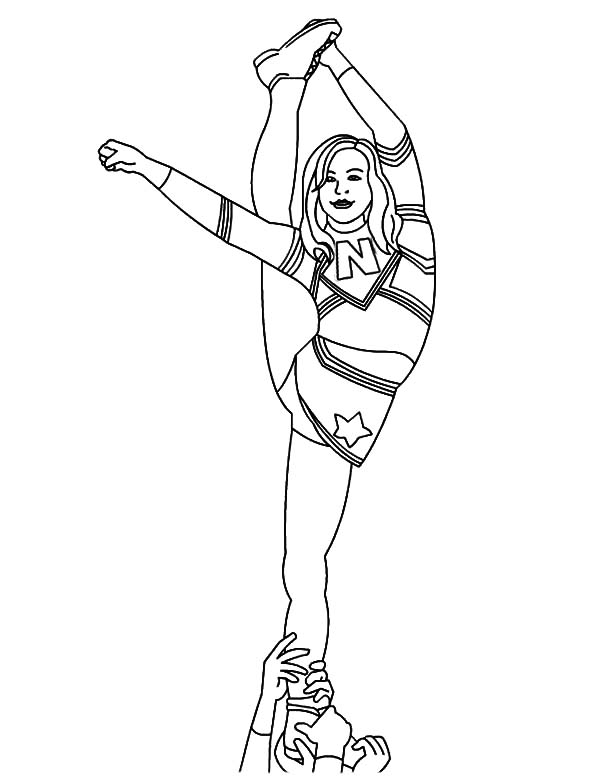 600x776 Cheerleader Difficult Stunt Coloring Pages Cheerleader Difficult