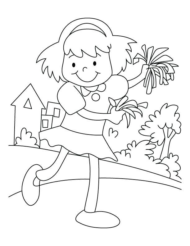 612x792 Happy Cheerleader Coloring Page Download Free Happy Cheerleader