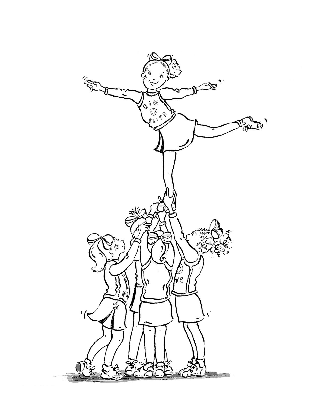 1236x1600 Portfolio Cheerleading Megaphone Coloring Pages Cheerleader Free