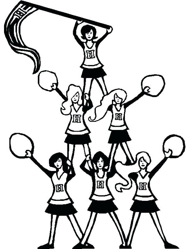 600x801 Cheerleader Coloring Pages Cheerleader Pyramid Of Cheerleader