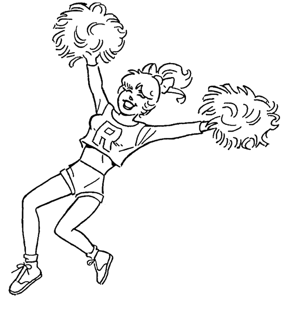 1107x1200 Cheerleading Coloring Pages