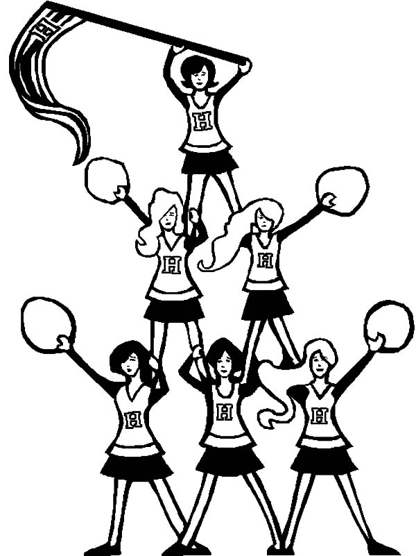 600x801 Pyramid Of Cheerleader Coloring Pages Best Place To Color