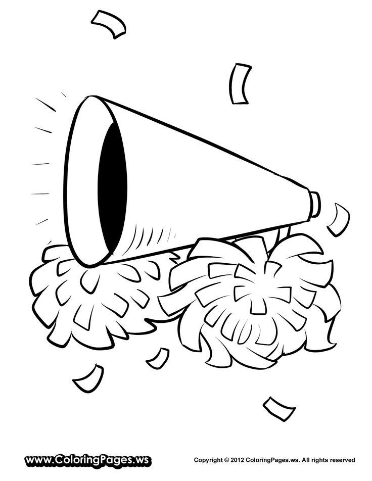 Cheerleader Megaphone Coloring Pages