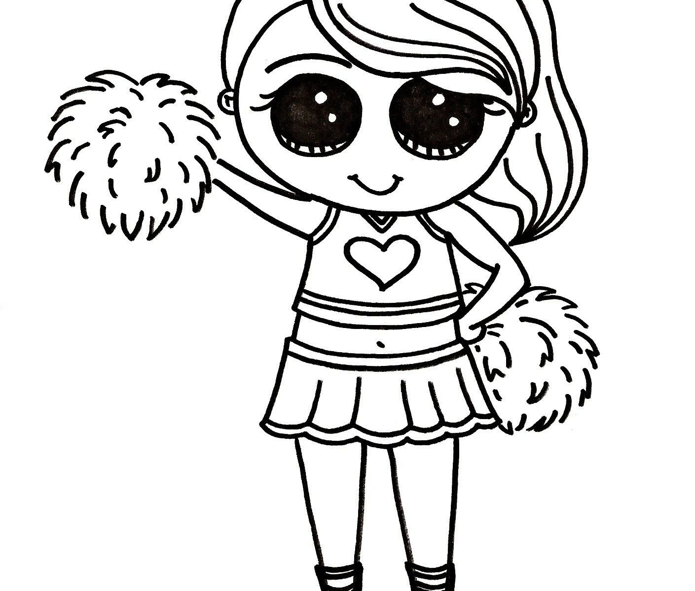 1409x1200 Cheerleading Coloring Pages Cheerleader Ink Free Stunt Pom Poms