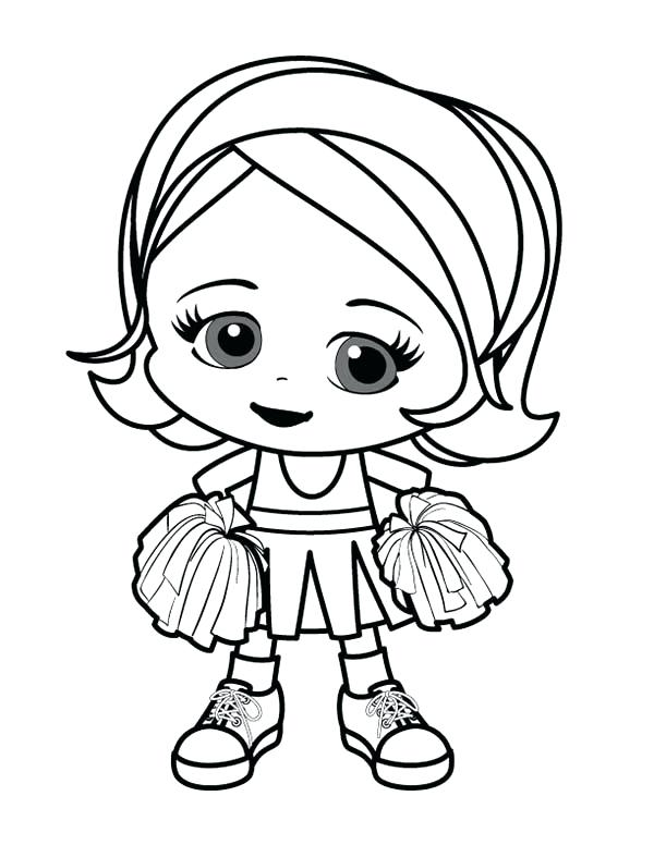 600x776 Cute Little Girl Cheerleader Coloring Pages Best Place To Color
