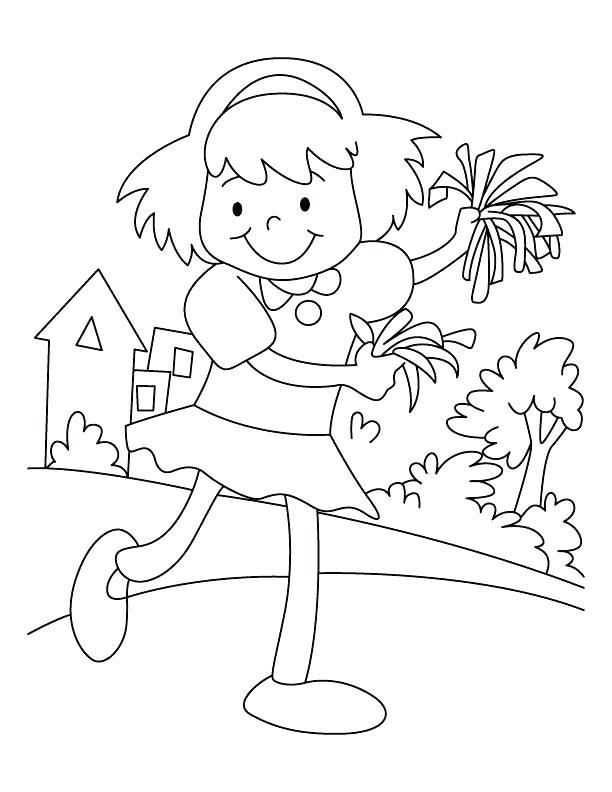 612x792 Cheer Coloring Pages Cheerleader Coloring Page Happy Cheerleader