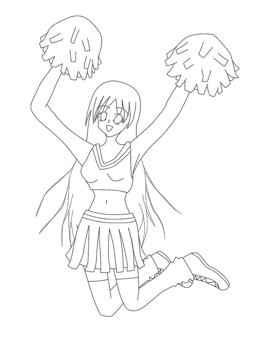900x1199 Cheerleader Coloring Page Free Printable Pages Inside Cheer All