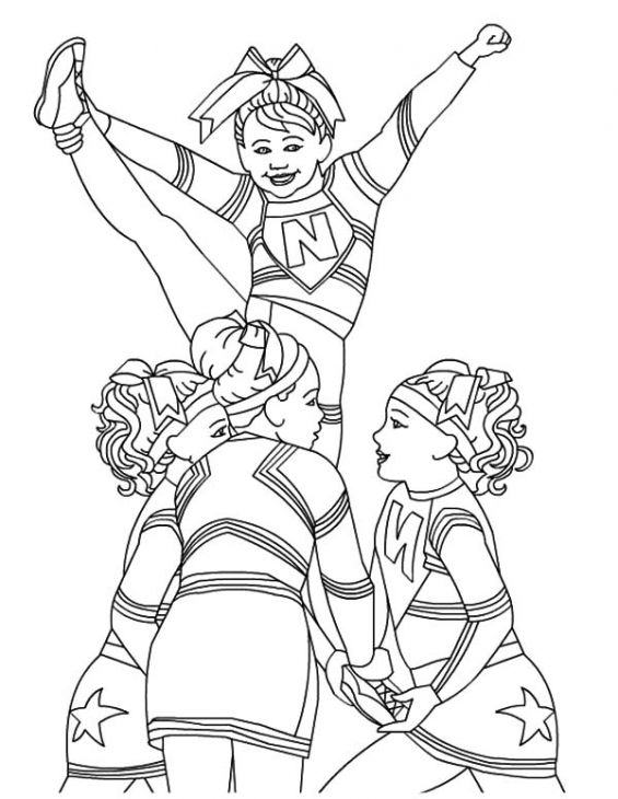 565x730 Cheerleader Perform Great Stunt Coloring Page For Teenagers