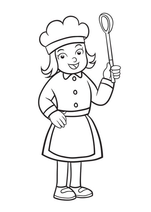 530x742 Girl Chef Coloring Sheet For Kids Profession Coloring Pages