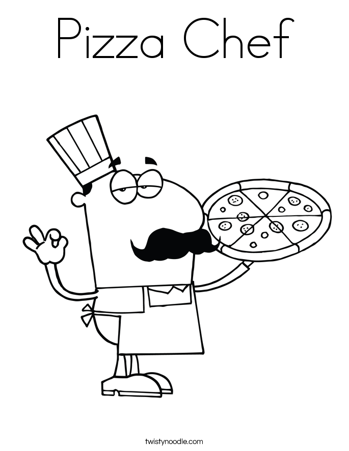 685x886 Pizza Chef Coloring Page