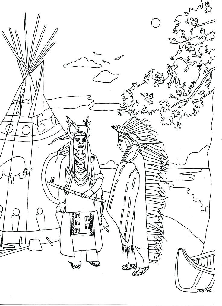 736x1012 Cherokee Indian Coloring Pages Free Printable Native