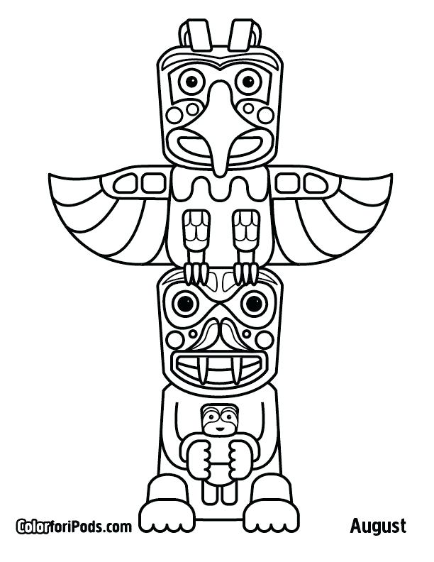 612x792 Cherokee Indian Coloring Pages Native Totem Pole Coloring Pages