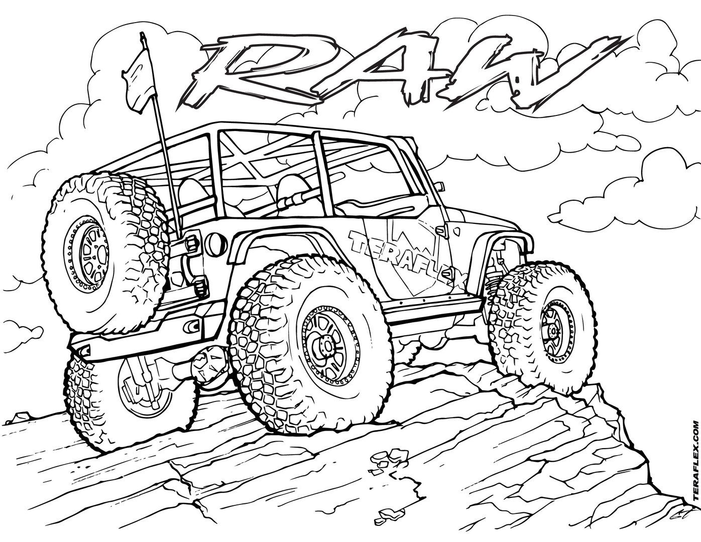 1396x1080 Amazing Jeep Coloring Pages Police Colouring Safari Army Rubicon
