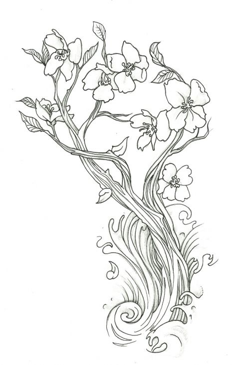 471x730 Lovely Cherry Blossom Flower Doodler Art Coloring Page Free