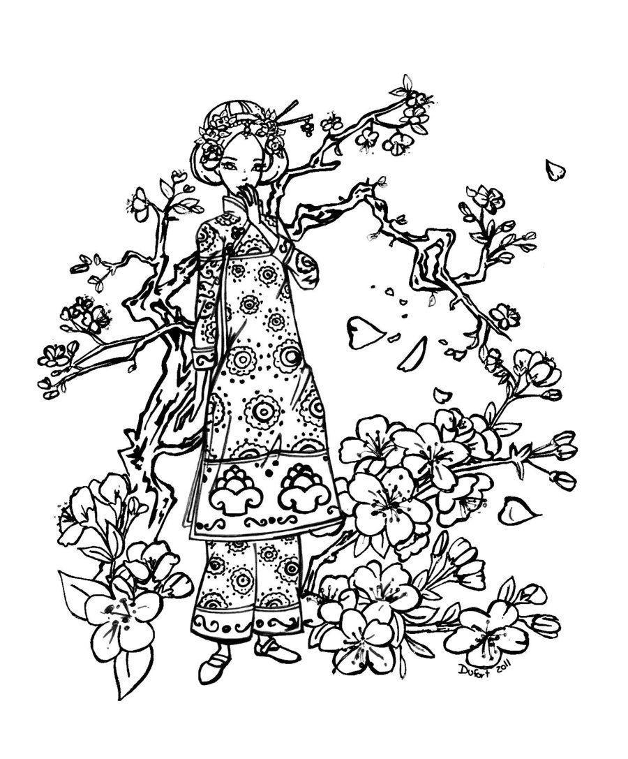 900x1087 Simplistic Cherry Blossom Coloring Page Blosso