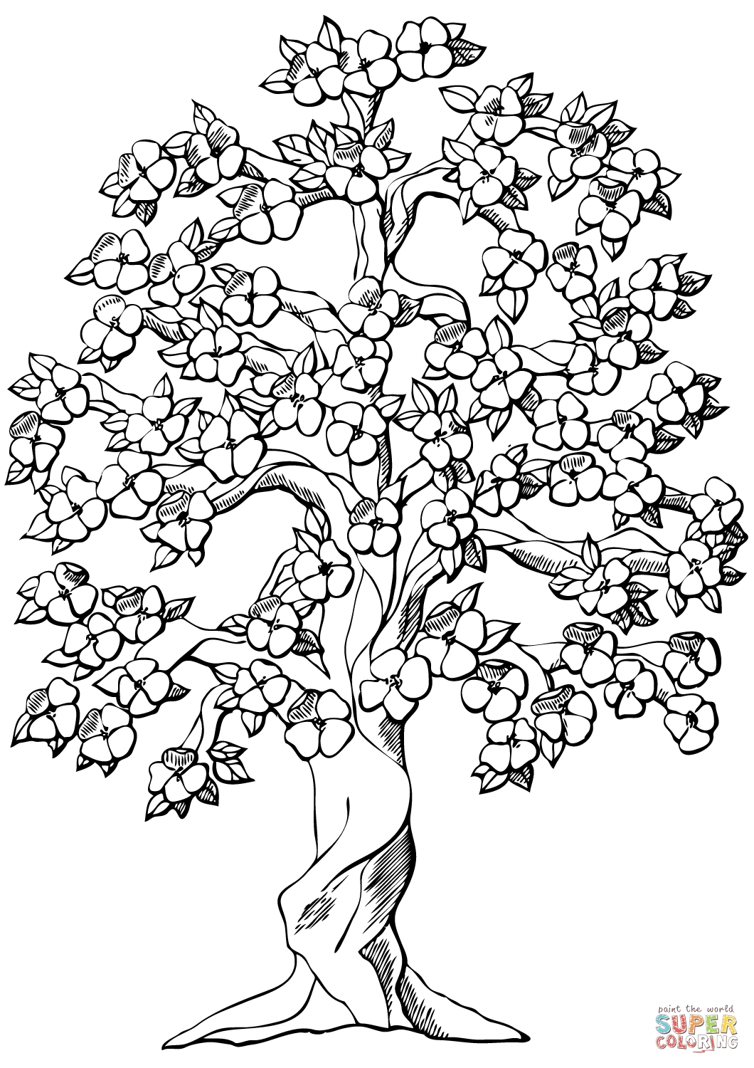 Cherry Blossom Tree Coloring Page at GetDrawings.com | Free ...