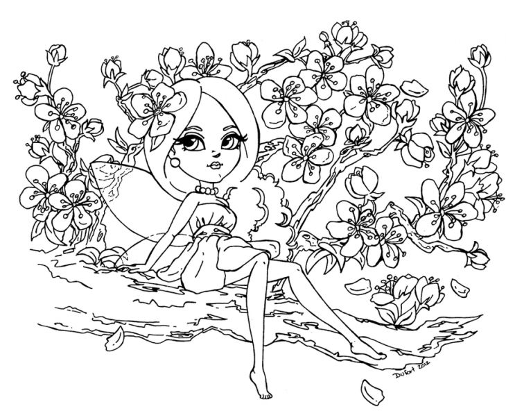 730x592 A Beautiful Fairy And Cherry Blossom Coloring Page Adult