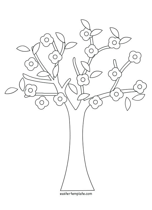 581x803 Coloring Pages Of Spring Trees Blooming Cherry Tree Page Free