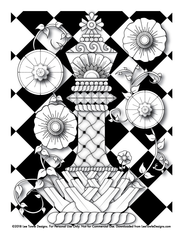 612x792 King Chess Piece With With Flowers Coloring Page For Adults