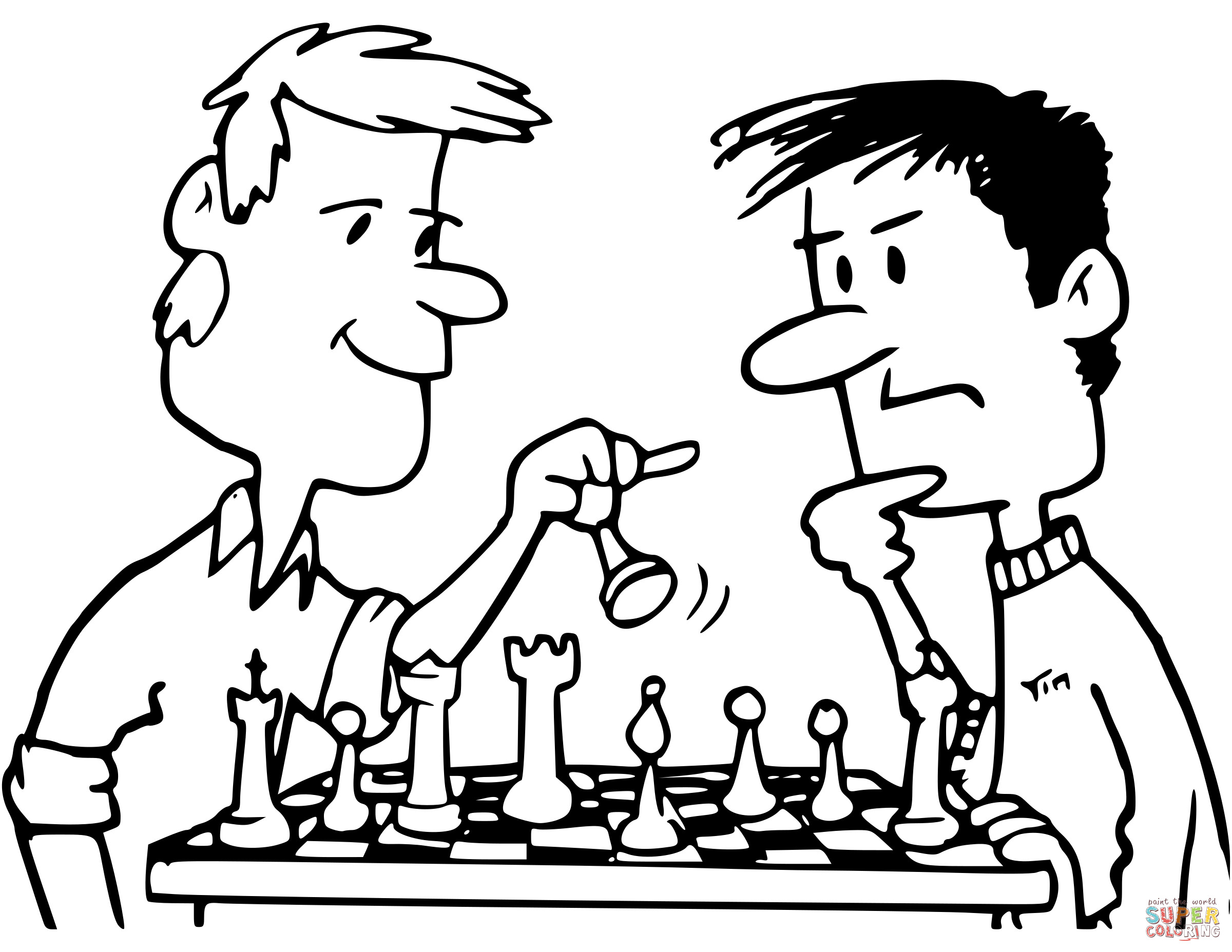 2400x1855 Friends Playing Chess Coloring Page Amazing Pages