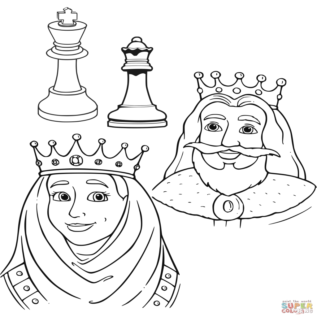 1024x1024 Queen And King Chess Pieces Coloring Page Free Printable
