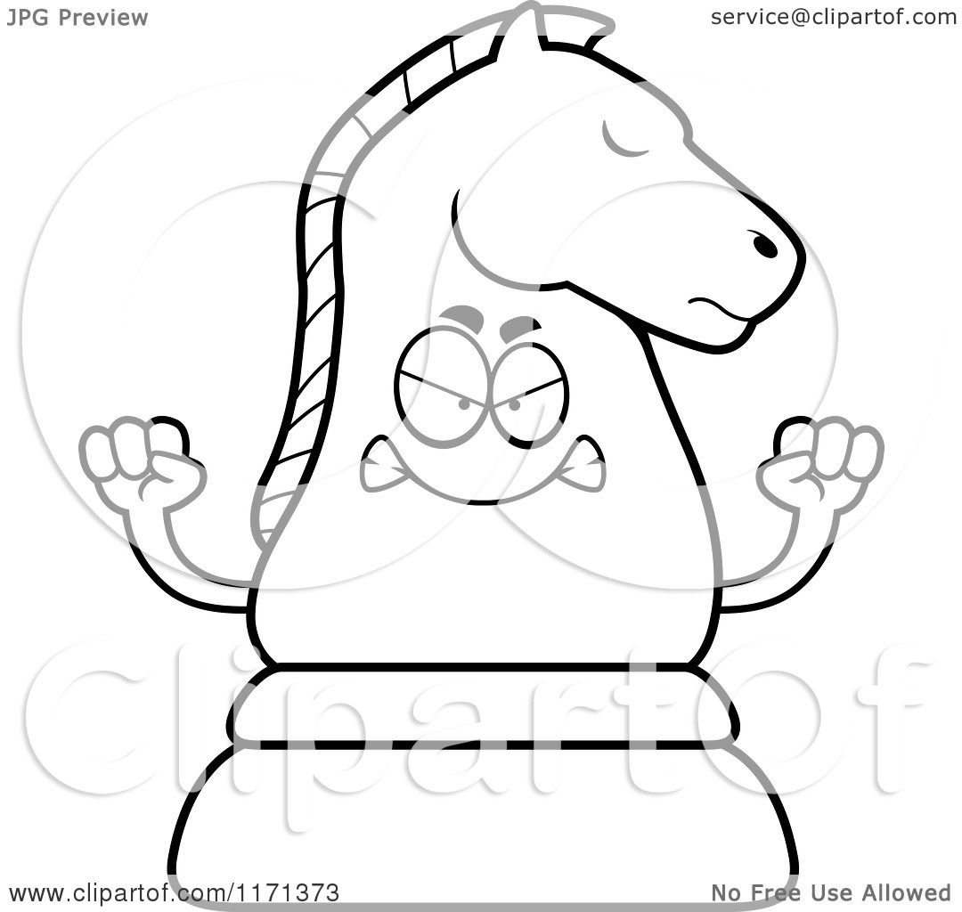 1080x1024 Cartoon Clipart Of A Mad Black Chess Knight Mascot