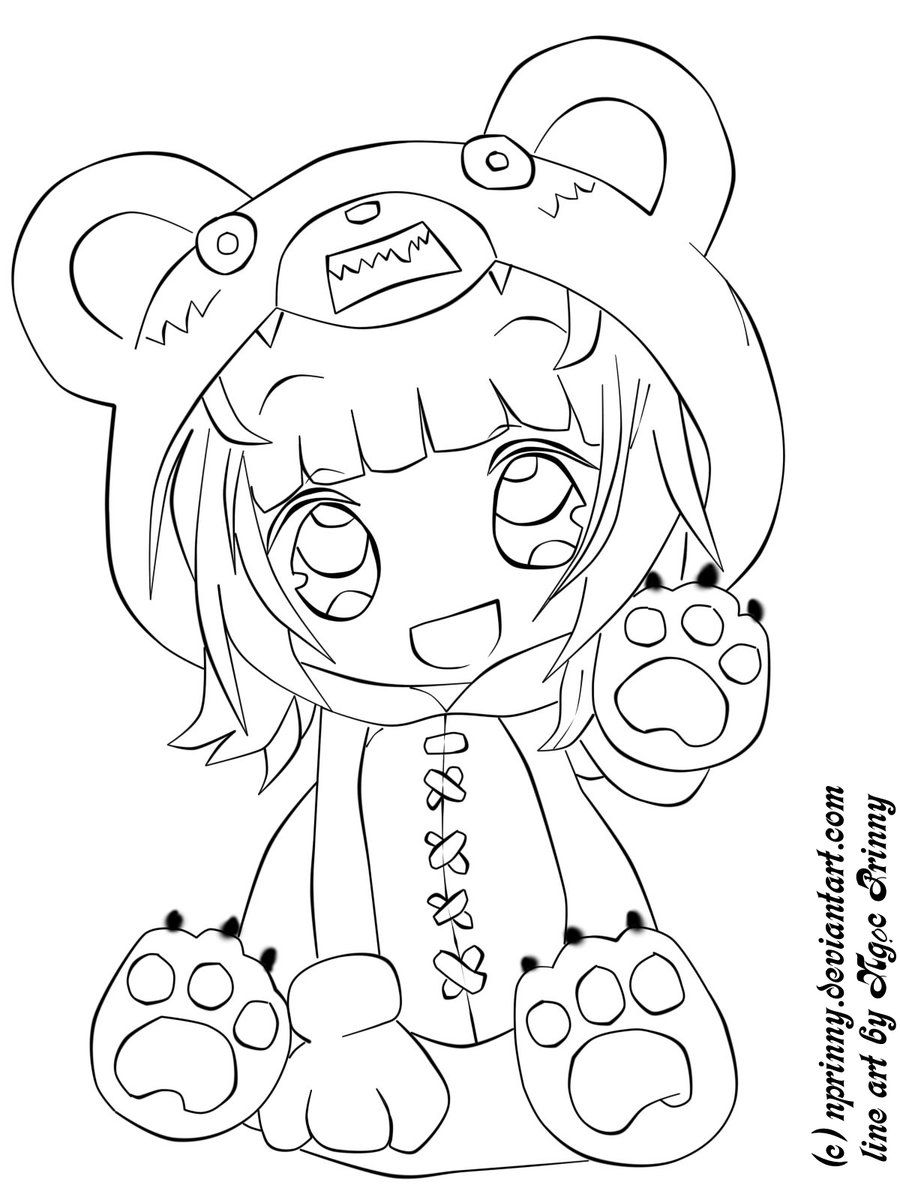 900x1200 Marvelous Chibi Coloring Pages Of Cute Animal Anime Image